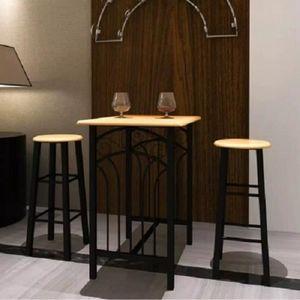 MANGE-DEBOUT vidaXL Lot d'une table haute de bar avec 2 taboure