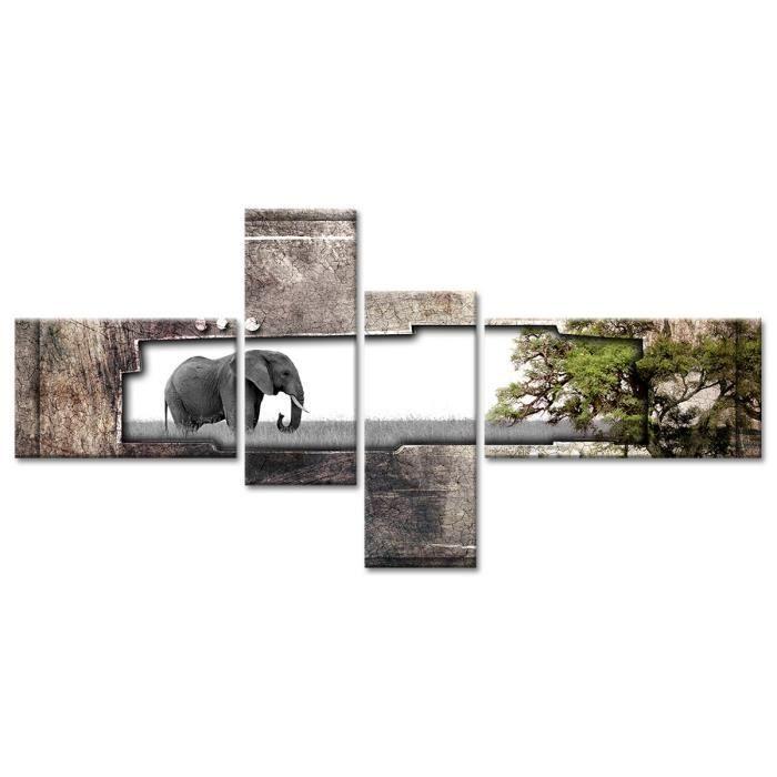 Thème : Animaux - Tableau Déco Photo Elephant Afrique - 130x65 cm - GrisTABLEAU - TOILE
