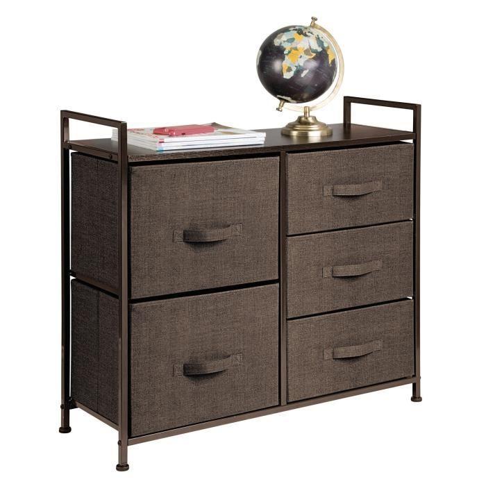 mDesign commode 5 tiroirs – table de chevet en tissu-métal-bois pour la  chambre à coucher, chambre d\'enfants, etc. – table de nui