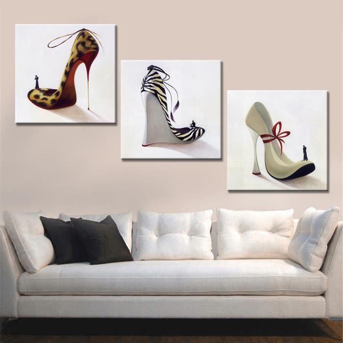 3 panneaux imprim s toile peinture mode femme haut talon chaussures art mural pour salon sans. Black Bedroom Furniture Sets. Home Design Ideas