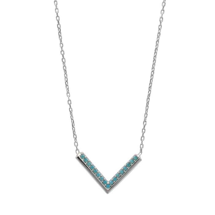 Collier V argent 925/1000 turquoise synthétique 40+5cm