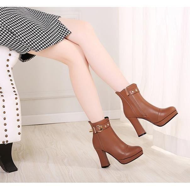 Bottes à talons hauts doux et sexy bottes automne et l'hiver des bottes ainsi que des bottes de velours, Brown 35