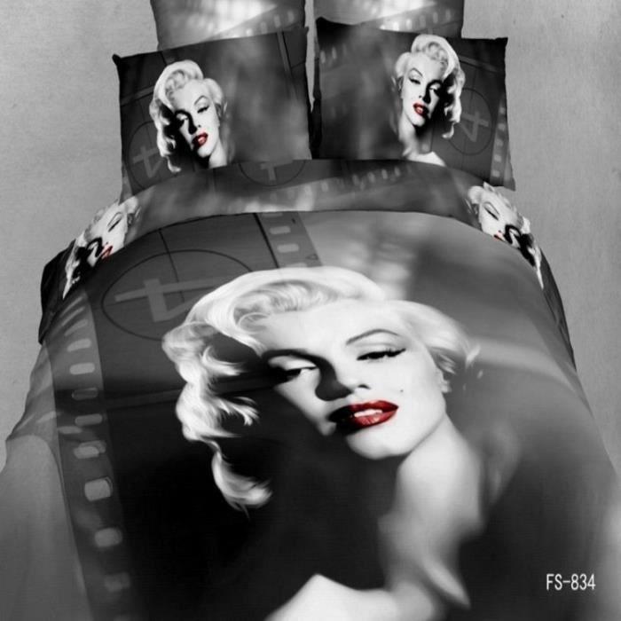 Parure de lit Marilyn Monroe et pellicule noir et blanche Coton