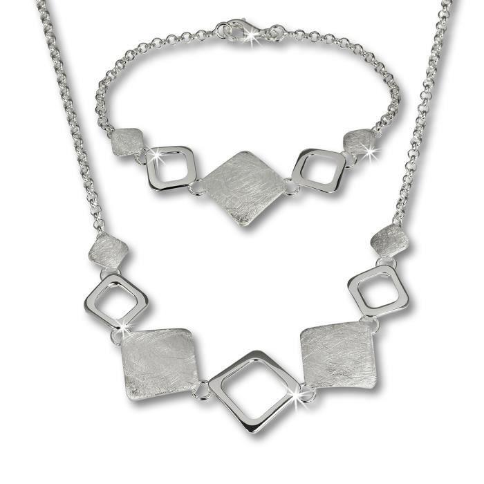 SilberDream Bijoux Set - Collier et bracelet Carreau - Argent Sterling 925/1000 pour Femme - SDS409
