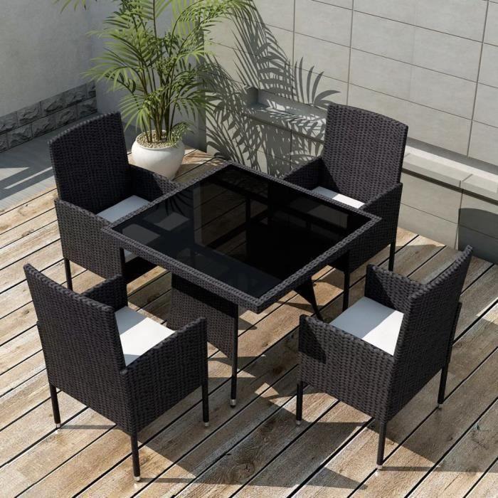 9 pcs Jeu de mobilier de jardin Noir Résine tressée- 1 table + 4 ...