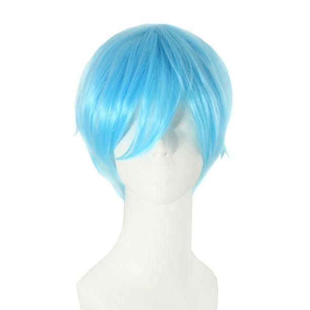 Perruque courte bleu ciel avec mèche 30cm,