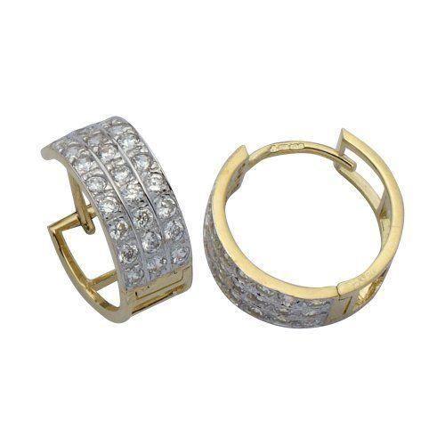 . Boucles doreille. Femme. E-10290-. Or jaune 9 cts 3. Gr. Oxyde de zirconium.…
