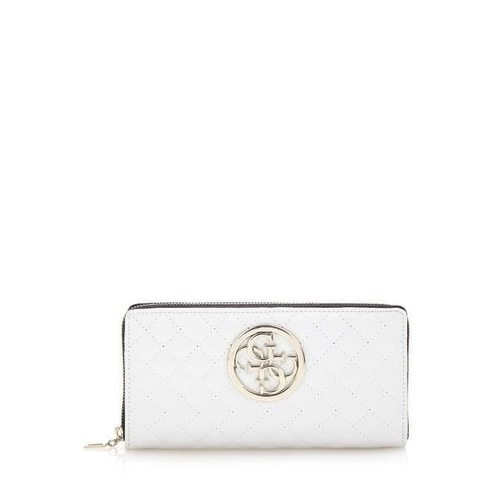 Guess Portefeuille Femme G Lux Effet Capitonne Blanc - Achat   Vente ... aa4a95fa78a