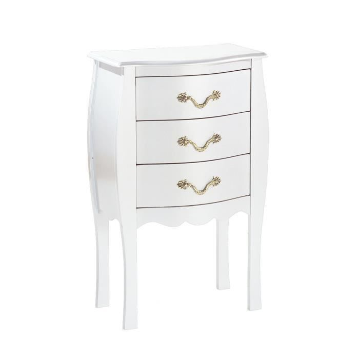 miliboo commode chevet baroque blanc 3 tiro achat vente commode de chambre louisa. Black Bedroom Furniture Sets. Home Design Ideas