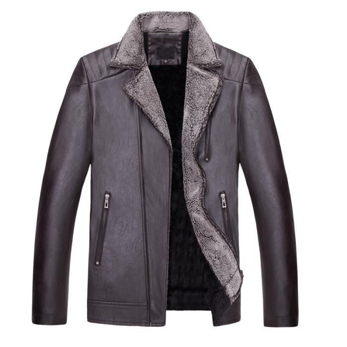 Veste Fourrure Homme Lapel Moto en Cuir Marque Luxe Slim Fit Manteau Homme Hiver Fermeture à glissière oblique Blouson Pour Homme Pl