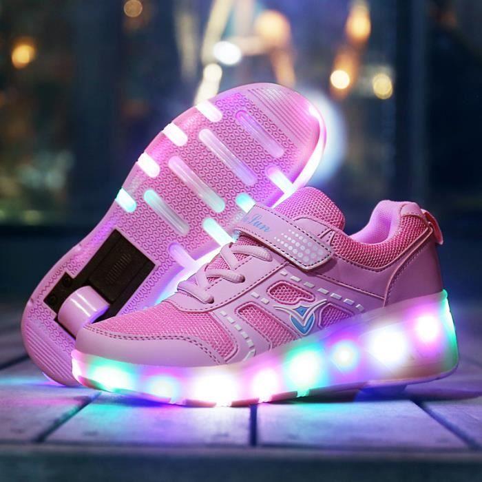 Chaussures Detente Ville Paragraphe automatique de Luminescence flash à roue unique avec une lampe del enfants poulie de patins à YQU6MrJ87b