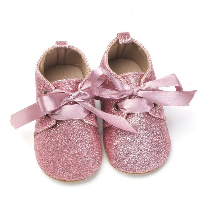 BOTTE Nouveau-né bébé fille garçons sequins chaussures léopard jusqu'à glisser dentelle bow cravate sneaker@Rose Ax50vX7tO