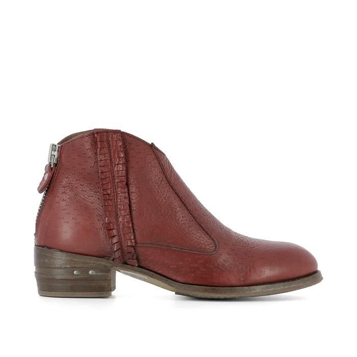 MOMA FEMME 32702546PECARYROSSORED ROUGE CUIR BOTTINES