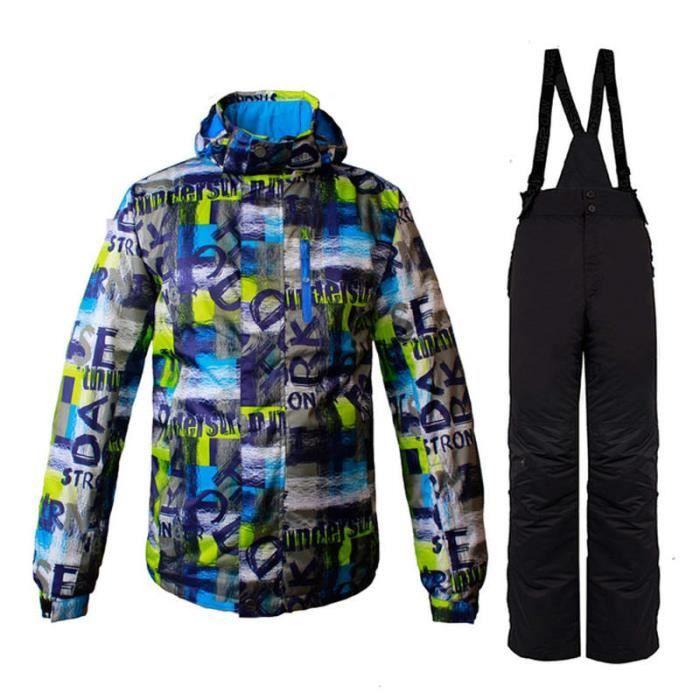 4fed1e74890df Combinaison de ski homme de Marque luxe Pantalons de ski coupe-vent  Professionnel Coupe-vent et hydrofuge Combinaison de ski