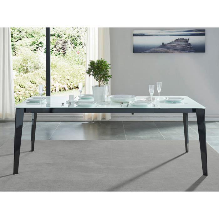Table à manger extensible LOREDANE - Verre trempé - 6 à 8 couverts ... 38fddecd21ad
