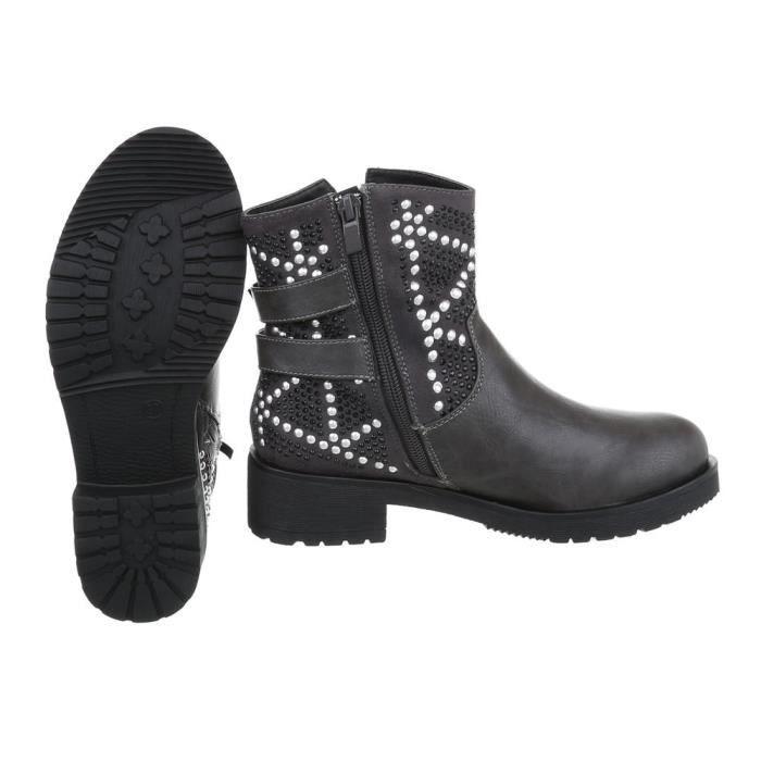 Bottines pour femme   Biker Boots boucle chaîne   Bottines hautes Look cuir   Bottes de travailleur  Chaussures à talon de bloc  