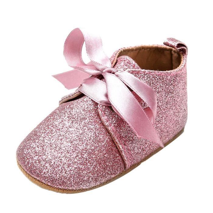 BOTTE Nouveau-né bébé fille garçons sequins chaussures léopard jusqu'à glisser dentelle bow cravate sneaker@Rose sOcn0c