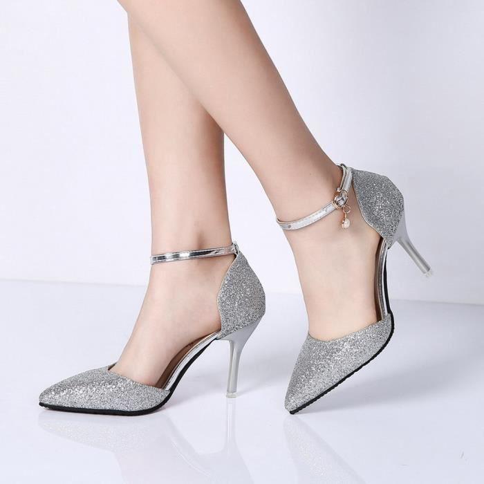 Femmes Buckled Paillettes 13288 Simples Ceinture Frenchshop Haut Sauvage Pointu heeled Sexy Chaussures Stiletto vXYIq