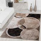 Cercle Tapis design moderne tapis salon Marron Beige Noir chiné ...