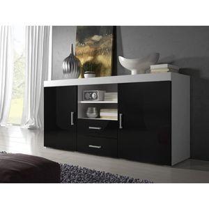 buffet noir et blanc laque achat vente pas cher. Black Bedroom Furniture Sets. Home Design Ideas