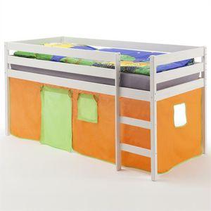 LIT MEZZANINE Lit surélevé lit enfant ERIK avec rideaux orange v