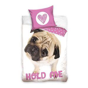 HOUSSE DE COUETTE Chien Dog Hold Me Rose Parure de Lit enfant Housse