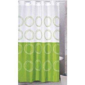 RIDEAU DE DOUCHE Rideau de douche décor Anneaux verts.Pour color…