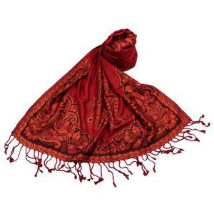 SHANKARA Etole Viscose Unie Bordure Motif Floral N16 Rouge Rouge ... 6f05adfeb02