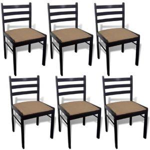CHAISE Lot de 6 chaises de salle à manger en bois Carrée