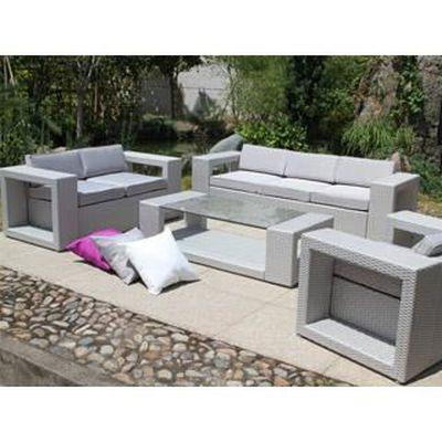 Salon de jardin résine tressée gris sidéral et fuschia - Achat ...