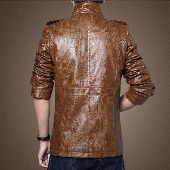 Col Veste Imitation Automne Manteau Cuir En Outwear Homme Hiver Montant Poche qXOXr70wx
