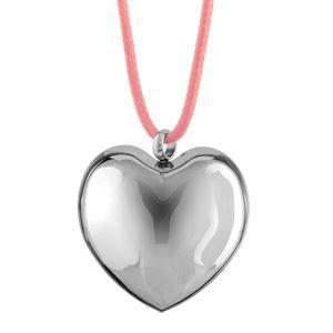 Collier acier cordon rose pendentif gros coeur bom