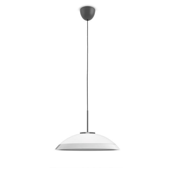 PHILIPS Suspension en verre LED Finavon - Argent - Ampoule incluse