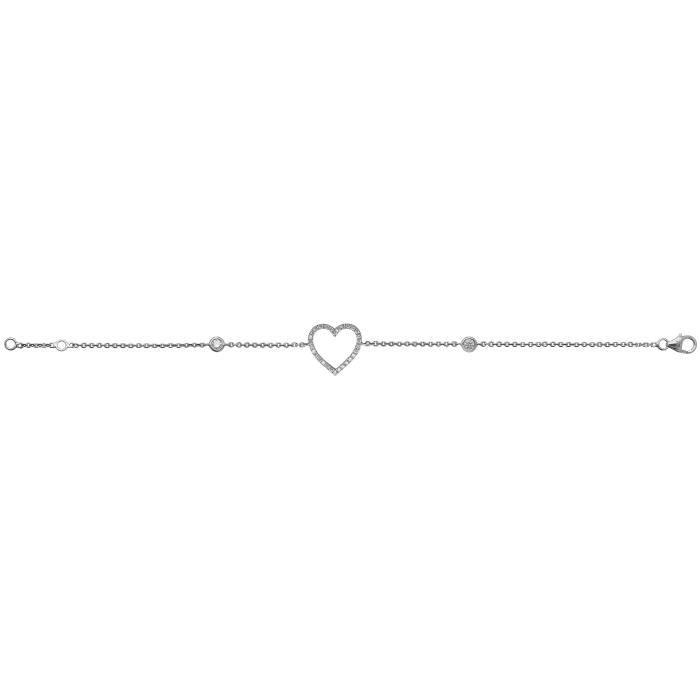 Bracelet Femme Coeur Or Blanc 375-1000 et Diamant Brillant 0.29 Carat G - I1 I2 - 19cm 27656