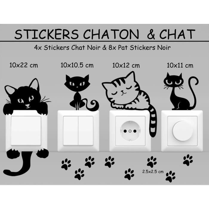 stickers noir lots chaton chat d co maison interrupteur prise achat vente stickers cdiscount. Black Bedroom Furniture Sets. Home Design Ideas