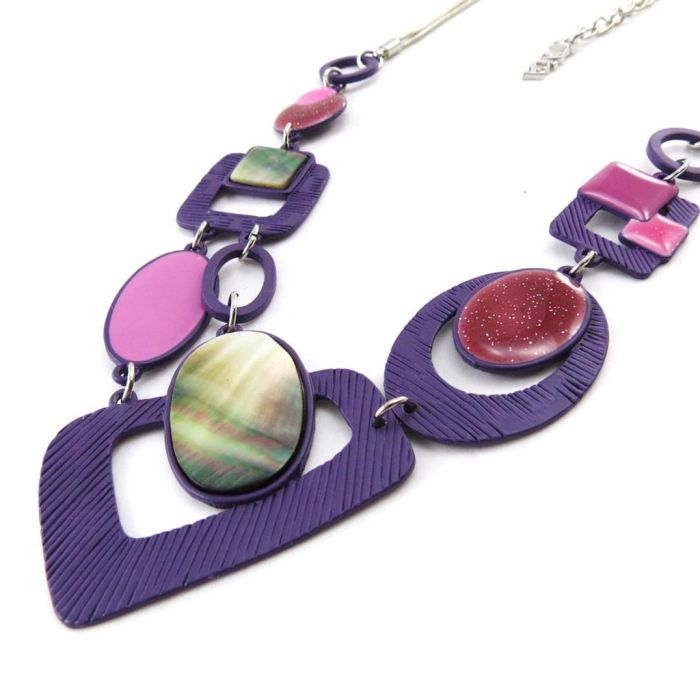 Collier Créateur Bora Bora violet rose