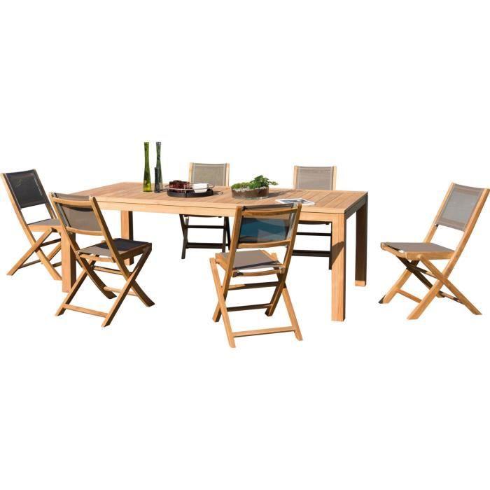 Ensemble de 6 chaises et une table rectangulaire en bois ...