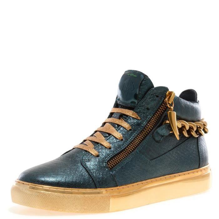 j75 par la chaîne de zack des hommes bout arrondi glissière arrière en cuir à lacets haut-haut sneaker LNN7N 43
