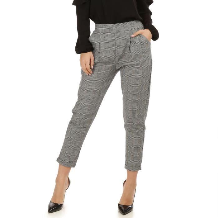 Pantalon noir et blanc à pinces imprimé Prince de Galles-M Blanc ... c9397509381a