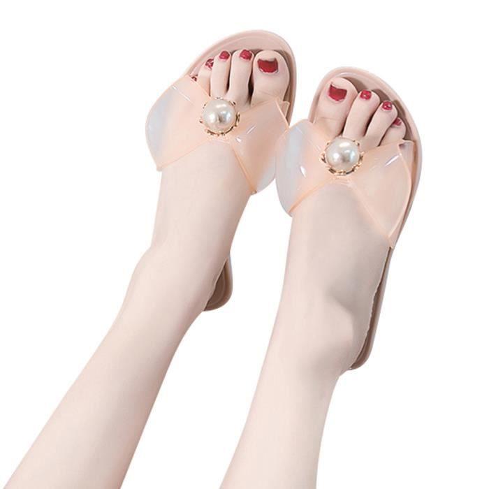 Slipper Sandales Solides Arc Plat Chaussures Talon Rond Femmes Bout Perles Plagekaki De 7XSw8qw