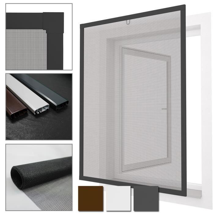 Moustiquaire pour fen tres confort avec cadre en aluminium 100x120 cm en anthracite n 39 est pas for Fenetre coulissante 100 x 120