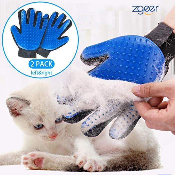 Gant De Toilettage Massage Pour Chien Chat Brosse Nettoyage Bain Caoutchouc Bleu
