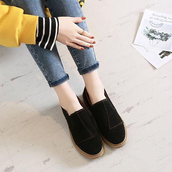 Femmes Low Ankle Trim Round Toe Leather Boots Casual Slip-on Noir Martin Shoes Noir_XZ*6510 Noir Noir Slip-on - Achat / Vente slip-on c29c1c