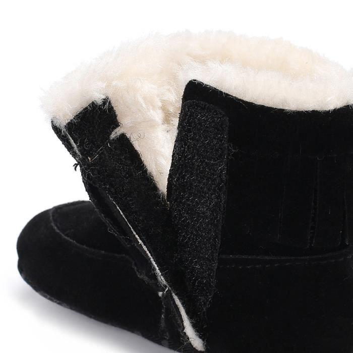 BOTTE Bottes de neige à semelles souples pour bébé Chaussures de crèche souples Bottes pour tout-petits@NoirHM
