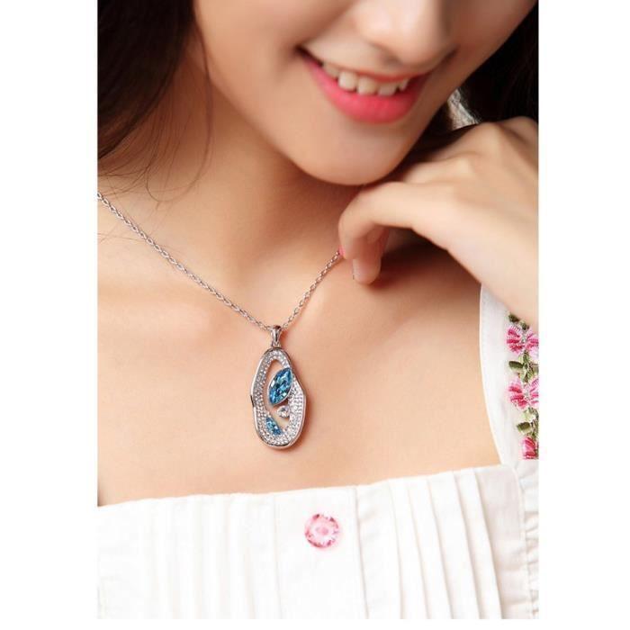 Womens Swarovski Crystals & Aaa Cubic Zircon Diamond Pendant Necklace. Daily-party Wear Fashion Je CIE3M