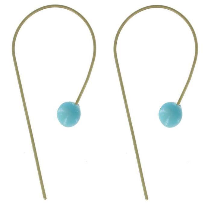 Boucles dOreilles Laiton Perle de Verre Turquoise