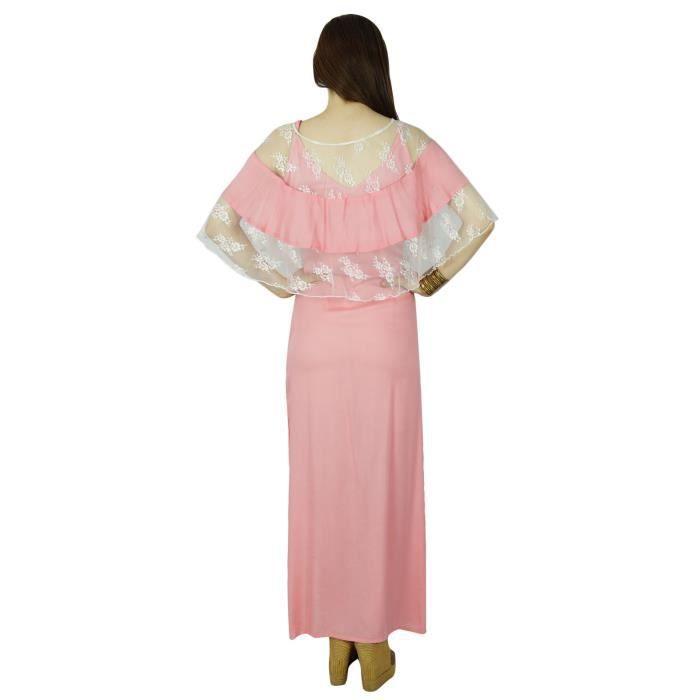 Bimba Femmes Rose Coton Maxi Robe Avec Poncho Haut Vêtements Décontractés Été, Rose