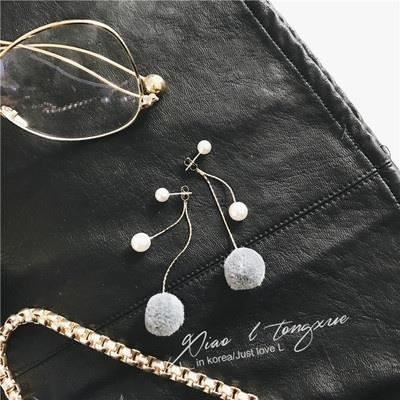 Bijoux mode 2018579 boucle doreille nouvelle longue pendentif perle boule de poils bijoux simples doux tempéramentblanc