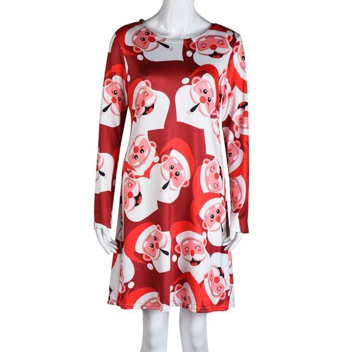 Femmes Noël Imprimer Robe trapèze à manches longues pour femmes de Noël évasé Robes de soirée Noël HA6554