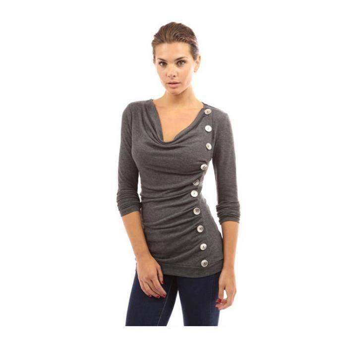 SHELOVEIT® Chemisier Femmes Solide Bouton Décoration Long Manchon